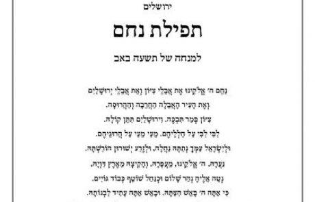 נוסח חלופי לתפילת 'נחם' לט' באב- הרב שלמה גורן